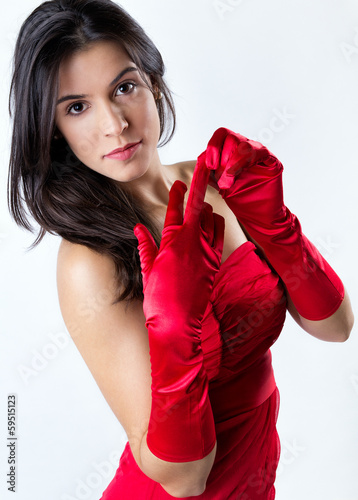 sophisticated young woman with red dress