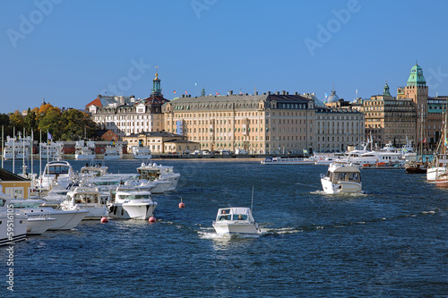 View of Nybroviken bay in Stockholm, Sweden
