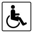 Symbol Schild WC Toilette Damen Behinderte Rollstuhlfahrerin