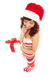 Happy santa woman with gift box