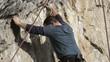 rock climber  steep rock wall in Turzii Gorge, Transylvania,