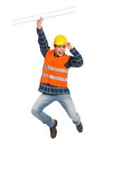 Construction worker celebrating success.