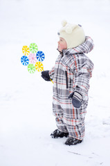 baby with whizzer in winter