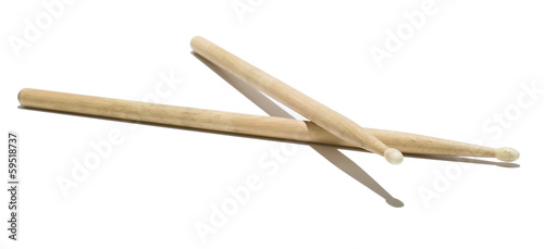 canvas print picture Wood Drumsticks - Isolated White