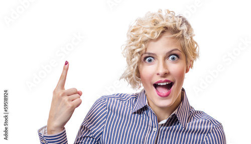 Surprised business woman showing with their finger up