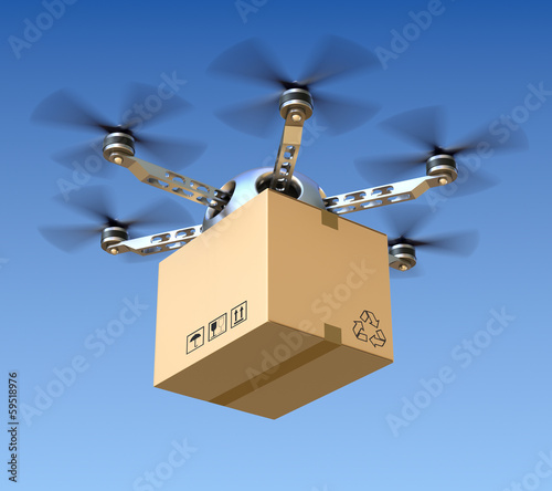 Leinwanddruck Bild Delivery drone