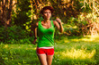 beautiful healthy runs young brunette woman athlete a running ou