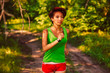 beautiful healthy runs young brunette woman athlete running a ou