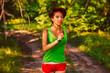 beautiful healthy runs young brunette woman athlete running a ou