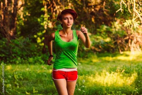 beautiful healthy runs young brunette woman athlete a running ou
