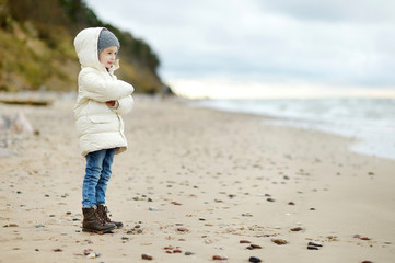 Adorable little girl looking at ocean