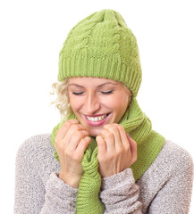 Laughing woman wearing warm - winter clothing