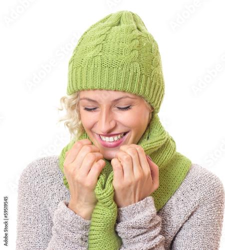 Laughing woman wearing warm - winter clothing