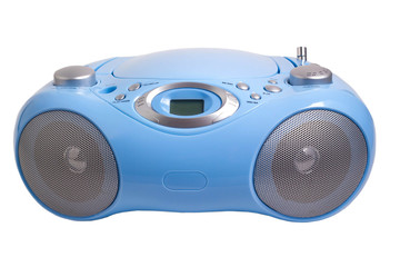 blue stereo CD mp3 radio recorder isolated on