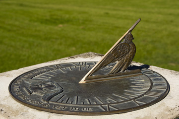 Bronze sundial with inscription