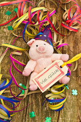Glücksschwein mit Anhänger, Viel Glück