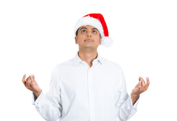Christmas man meditating in zen mode