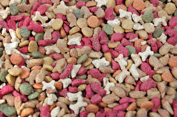 Dry feed for pets . Horizontal photo background.