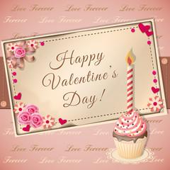 congratulation Valentine's card with cupcake