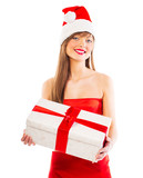 Beautiful Santa christmas girl with gift isolated on white