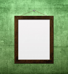 wooden frame on grunge wall