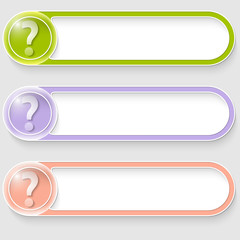 set of three vector abstract buttons with question mark