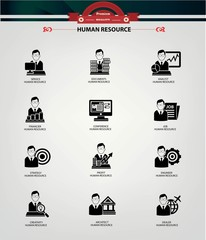 Human resource icons,Black version,vector