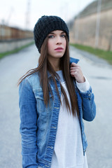 Girl in warm cap