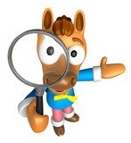3D Horse mascot look through a magnifying glass. 3D Animal Chara