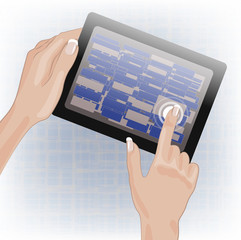 Hands holding and pointing on tablet