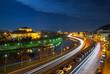 Saarbrücken - Stadtautobahn und Staatstheater nachts