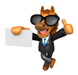 Wear sunglasses 3D Horse Mascot the right hand best gesture and