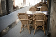 Wicker chairs and tables