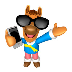Wear sunglasses 3D Horse mascot the right hand guides and the le