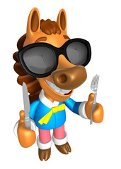 Wear sunglasses 3D Horse Mascot hand is holding a Fork and Knife