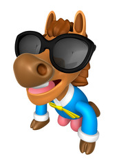 Wear sunglasses 3D Horse Mascot is a polite greeting. 3D Animal