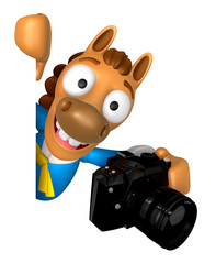 3D Horse mascot hand is holding a Camera and board. 3D Animal Ch