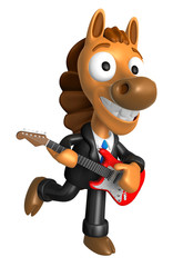 3D Horse has to be playing the electric guitar. 3D Animal Charac