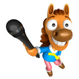 3D Horse character point a microphone. 3D Animal Character Desig