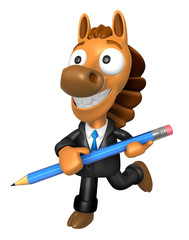 3D Horse Mascot holding a big board with both Pencil. 3D Animal