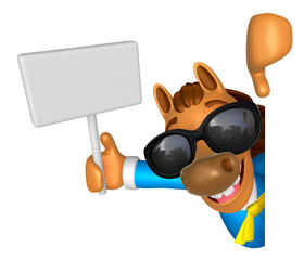Wear sunglasses 3D Horse mascot hand is holding a picket and boa