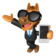 Wear sunglasses 3D Horse mascot the left hand guides and the rig