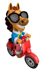 3D Horse character the Red motorbike driving. 3D Animal Characte