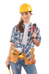 beautiful sexy girl in work wear holding tools isolated on white