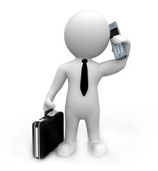 Manager mit Koffer telefoniert mit Handy