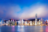 Hong Kong night view of Victoria Harbor, Hong Kong Island busine