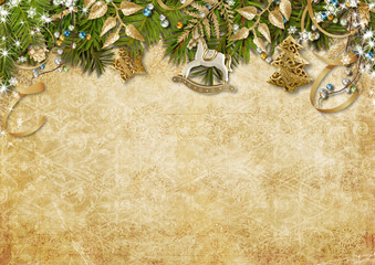 Beautiful  Christmas garland  on vintage background