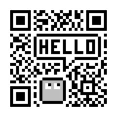 Pixel Character Says Hello in Fake Abstract QR Code