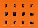 Bookmark, favorite icons on orange background.