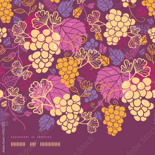 Vector sweet grape vines horizontal border seamless pattern